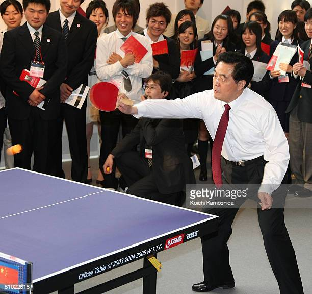 Chinese president Hu Jintao plays table tennis at Waseda University's Okuma Garden House on May 8, 2008 in Tokyo, Japan. Jintao is in Tokyo for a...