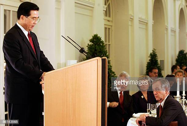 Chinese President Hu Jintao speaks at a reception at Charlottenburg Castle on November 11, 2005 in Berlin, Germany. Hu Jintao is on a three-day...