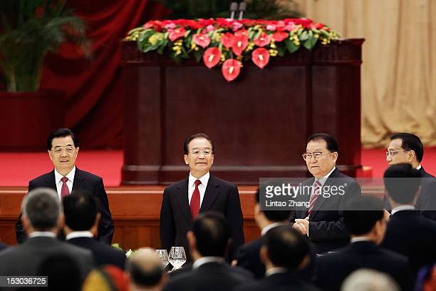 Chinese President Hu Jintao,Chinese Prime Minister Wen Jiabao, Li CHangchun a member of the Standing Committee of the Political Bureau of the...