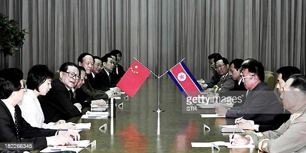 Chinese President Jiang Zemin holds talks with North Korean Leader Kim JongIl in Pyongyang 03 September 2001 Jiang is here to hold talks with Kim...