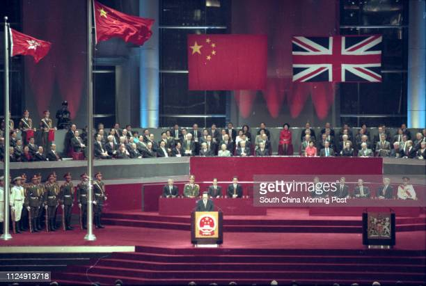 Chinese president Jiang Zemin is giving a speech during the Hong Kong handover ceremony held at Hong Kong Convention and Exhibition Centre in Wan Chai