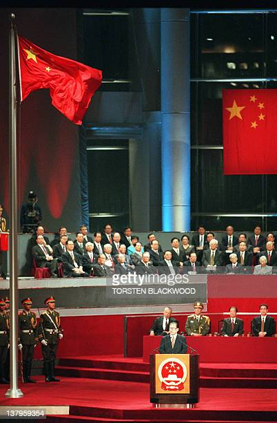 Chinese President Jiang Zemin makes his address during the handover ceremony at the Hong Kong Convention and Exhibition Centre 01 July The event...