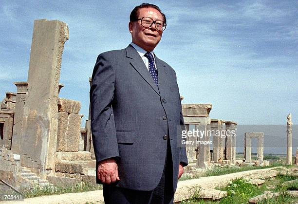 Chinese President Jiang Zemin poses for photographers at Irans most famous tourist attraction, Persepolis, April 19, 2002 at the beginning of a two...