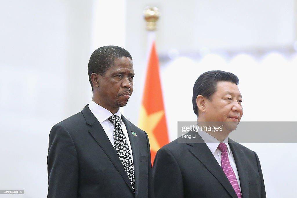 President Xi Jinping Meets Visiting Zambia's President Edgar Chagwa Lungu
