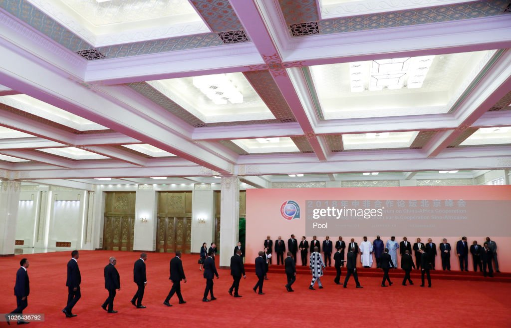 Chinese President Xi Jinping (front 5-R) and African leaders leave walk together after a photo session during the Forum on China-Africa Cooperation (FOCAC) 2018 Beijing Summit on September 3, 2018 in Beijing, China.