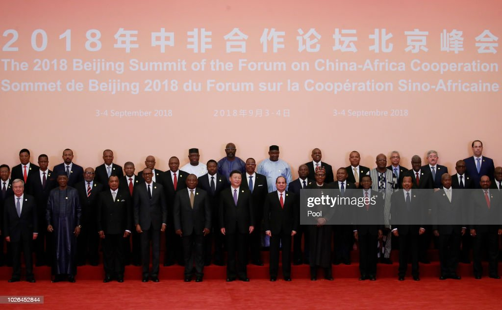 Chinese President Xi Jinping (front C) and African leaders stand together for a group photo during the Forum on China-Africa Cooperation (FOCAC) 2018 Beijing Summit on September 3, 2018 in Beijing, China.