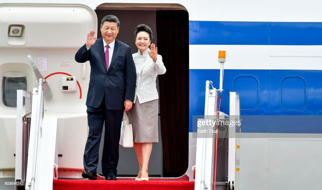 Chinese President Xi Jinping and first lady Peng Liyuan arrive at Hong Kong International Airport on June 29, 2017 in Hong Kong. Chinese President Xi Jinping is visiting Hong Kong between June 29 and July 1 for the 20th anniversary of the city's handover to Chinese sovereignty.