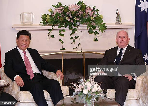 Chinese President Xi Jinping and GovernorGeneral of Australia Sir Peter Cosgrove sit down for a meeting at Government House on November 17 2014 in...