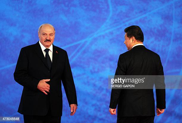 Chinese President Xi Jinping and his Belarussian counterpart Alexander Lukashenko attend on May 12 2015 in the presentation of the Great Stone...