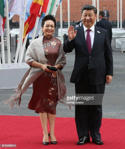Chinese President Xi Jinping and his wife Peng Liyuan arrive to the Elbphilharmone for the dinner during the G20 Summit on July2017 in Hamburg Germany
