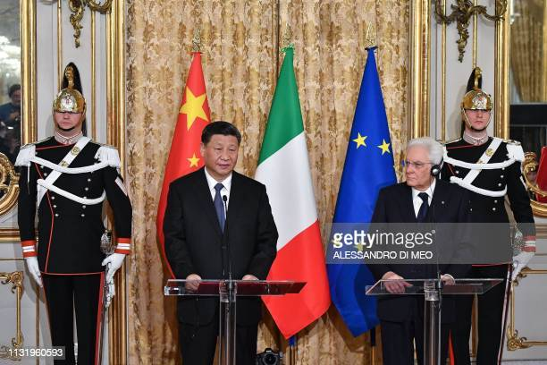 Chinese President Xi Jinping and Italy's President Sergio Mattarella address a joint press conference following their meeting on March 22 2019 at the...