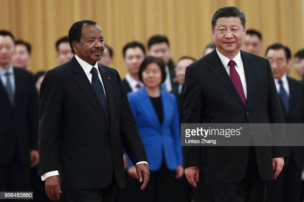 Chinese President Xi Jinping and President of Cameroon Paul Biya attend a welcoming ceremony inside the Great Hall of the People on March 22, 2018 in...