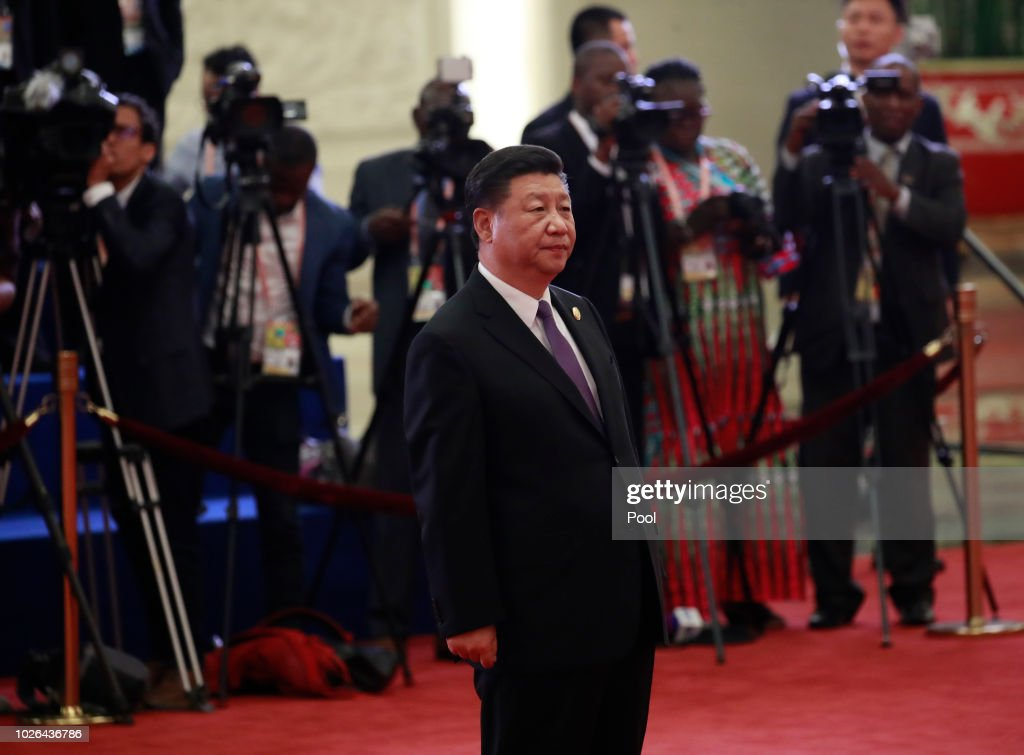 Chinese President Xi Jinping (front) arrive to welcome African leaders during the Forum on China-Africa Cooperation (FOCAC) 2018 Beijing Summit on September 3, 2018 in Beijing, China.