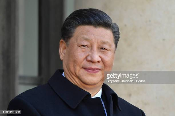 Chinese President Xi Jinping arrives at Elysee Palace during a state visit on March 25 2019 in Paris France Chinese President Xi Jinping is on a...