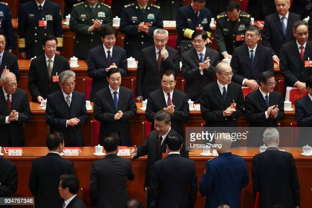 Chinese President Xi Jinping attend the closing session of the National People's Congress at the Great Hall of the People on March 20 2018 in Beijing...
