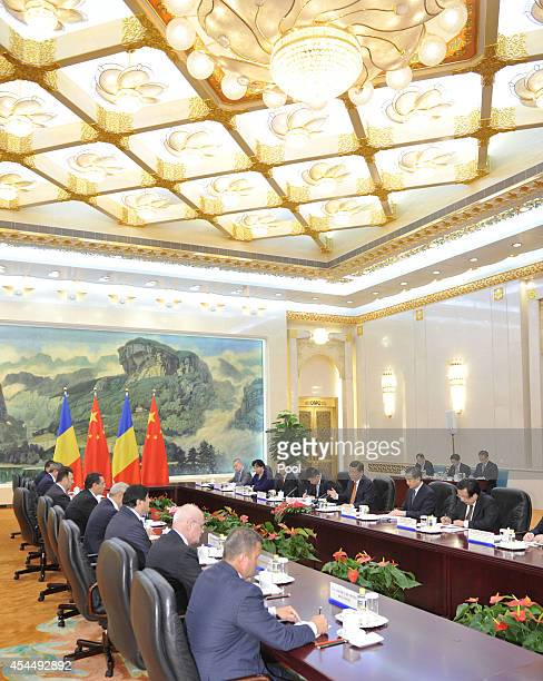 Chinese President Xi Jinping attends a meeting with Romanian Prime Minister Victor Ponta at the Great Hall of the People on September 1 2014 in...