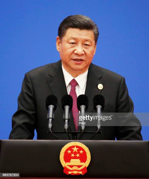 Chinese President Xi Jinping attends a news conference at the end of the Belt and Road Forum for International Cooperation on May 15, 2017 in...