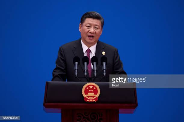 Chinese President Xi Jinping attends a news conference at the end of the Belt and Road Forum for International Cooperation on May 15 2017 in Beijing...