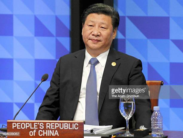 Chinese President Xi Jinping attends a plenary session of the Asia Pacific Economic Cooperation on November 19, 2015 in Manila, Philippines....