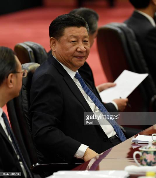Chinese President Xi Jinping attends a signing ceremony with Angolan president Joao Lourenco at the Great Hall of the People in Beijing China on...