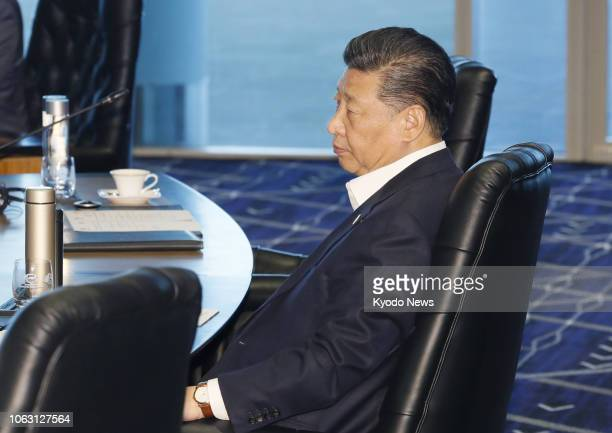 Chinese President Xi Jinping attends an event being held before the AsiaPacific Economic Cooperation forum summit in Port Moresby Papua New Guinea on...