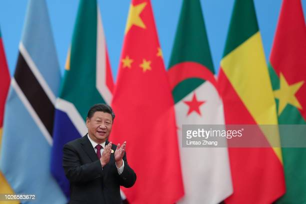 Chinese President Xi Jinping attends the 2018 Beijing Summit Of The Forum On China-Africa Cooperation - Round Table Conference at at the Great Hall...