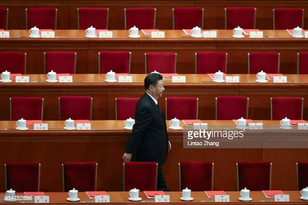 Chinese President Xi Jinping attends the closing session of the National People's Congress at the Great Hall of the People on March 20 2018 in...