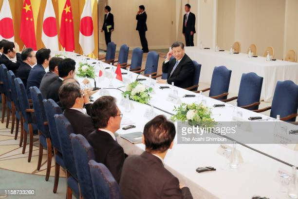 Chinese President Xi Jinping attends the meeting with Japanese Prime Minister Shinzo Abe ahead of the G20 summit on June 27, 2019 in Osaka, Japan....