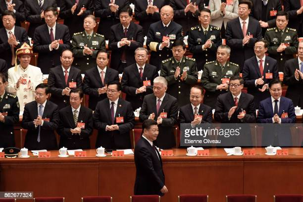 Chinese President Xi Jinping attends the opening session of the 19th Communist Party Congress held at the Great Hall of the People on October 18,...