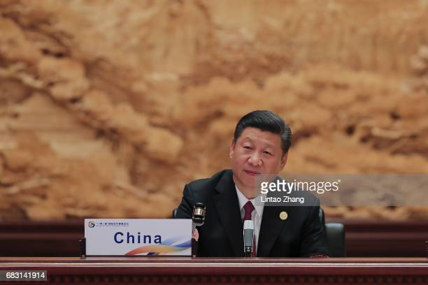 Chinese President Xi Jinping attends the Roundtable Summit Phase One Sessions of Belt and Road Forum at the International Conference Center in Yanqi...
