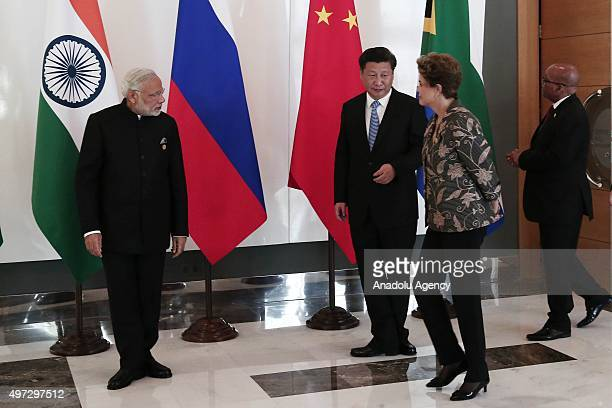 Chinese President Xi Jinping Brazilian President Dilma Rousseff Indian Prime Minister Narendra Modi and South African President Jacob Zuma arrive to...