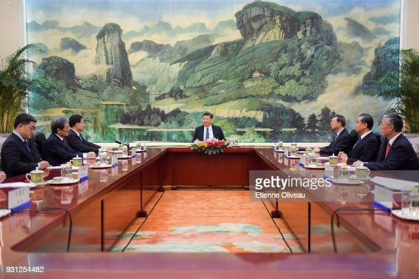 Chinese President Xi Jinping Chinese State Councilor Yang Jiechi and Chinese Foreign Minister Wang Yi meet with Republic of Korea's National Security...