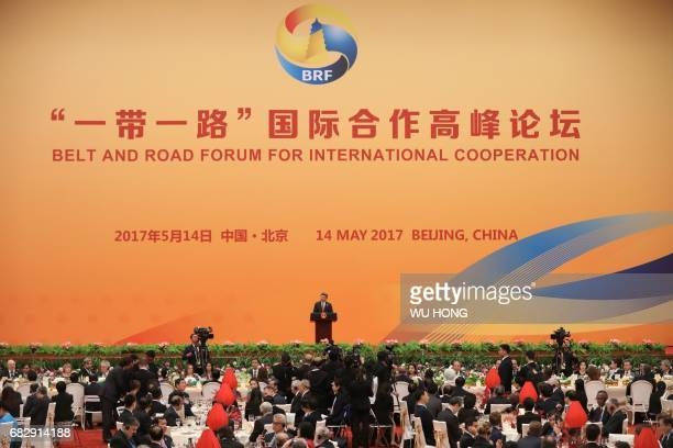 Chinese President Xi Jinping delivers a speech during a welcome banquet for the Belt and Road Forum at the Great Hall of the People in Beijing on May...