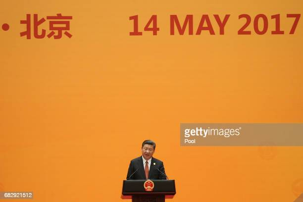 Chinese President Xi Jinping delivers a speech during a welcome banquet for the Belt and Road Forum at the Great Hall of the People in Beijing China...