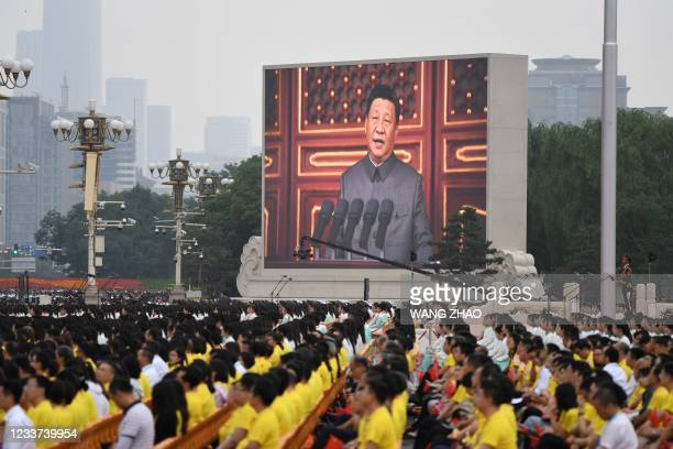 Chinese President Xi Jinping delivers a speech during the celebrations of the 100th anniversary of the founding of the Communist Party of China at...