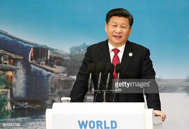 Chinese President Xi Jinping delivers a speech during the World Internet Conference in Wuzhen east China's Zhejiang province on December 16 2015...