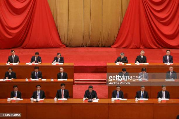 Chinese President Xi Jinping delivers a speech for the 100th Anniversary of the May 4 Movement at The Great Hall Of The People on April 30 2019 in...