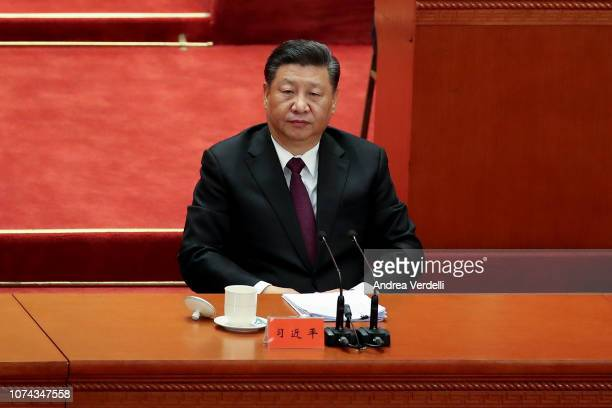 Chinese President Xi Jinping during the 40th Anniversary of Reform and Opening Up at The Great Hall Of The People on December 18 2018 in Beijing China