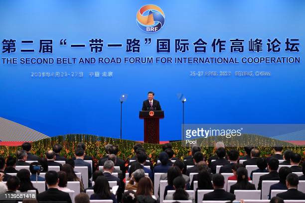 Chinese President Xi Jinping gives a speech at a press conference after the Belt and Road Forum at the China National Convention Center at the Yanqi...