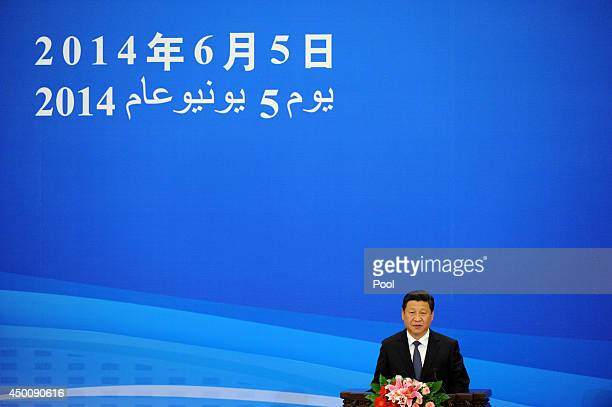 Chinese President Xi Jinping gives a speech at the opening ceremony of the 6th ministerial meeting of the ChinaArab Cooperation Forum at the Great...