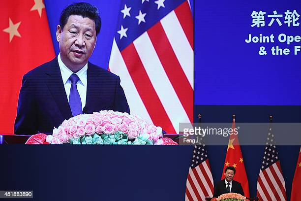 Chinese President Xi Jinping gives a speech during the opening ceremony of the 6th ChinaUS Security and Economic Dialogue and 5th round of ChinaUS...