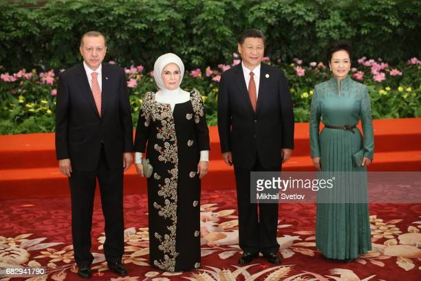 Chinese President Xi Jinping his wife Peng Liyan Turkish President Recep Tayyip Erdogan and his wife Emine Erdogan pose for a photo prior to the...