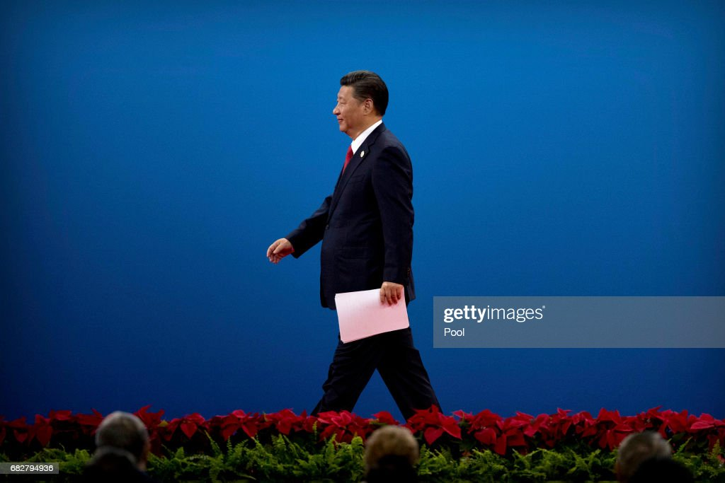 Chinese President Xi Jinping leaves the stage after speaking during the opening ceremony of the Belt and Road Forum at the China National Convention Center (CNCC) in Beijing, Sunday, May 14, 2017. The Belt and Road Forum focuses on the One Belt, One Road (OBOR) trade initiative.