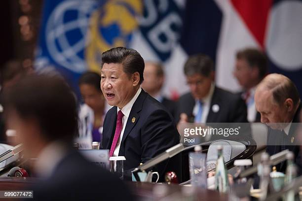 Chinese President Xi Jinping makes a speech during the opening ceremony of the G20 Leaders Summit on September 4, 2016 in Hangzhou, China. World...