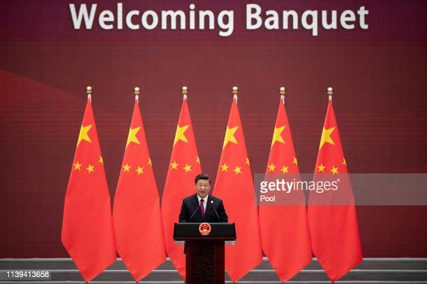 Chinese President Xi Jinping makes a speech during the welcome banquet for leaders attending the Belt and Road Forum at the Great Hall of the People...