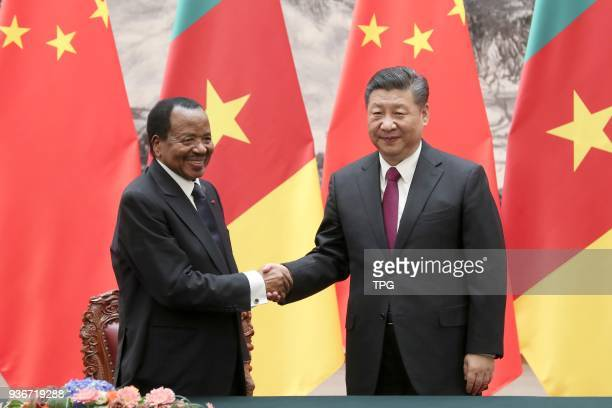 Chinese president Xi Jinping meeting with Cameroonian President Paul Biya on 22 March 2018 in Beijing, China .