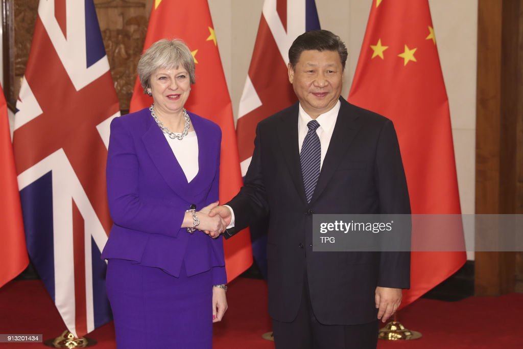 Chinese President Xi Jinping meeting with Prime Minister Theresa May Inaugural on 02th February 2018 in Beijing, China.