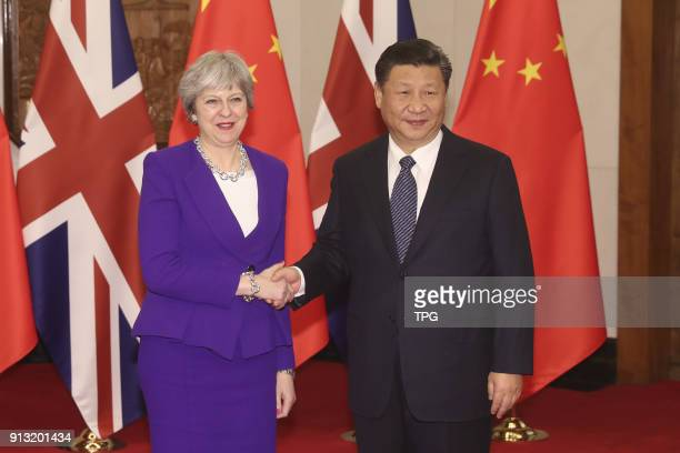 Chinese President Xi Jinping meeting with Prime Minister Theresa May Inaugural on 02th February 2018 in Beijing China