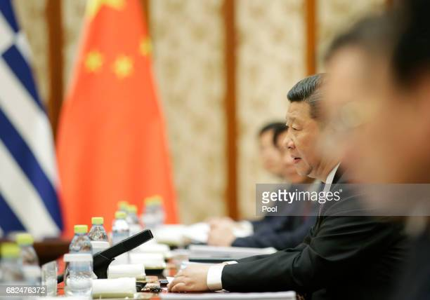 Chinese President Xi Jinping meets Greek Prime Minister Alexis Tsipras ahead of the Belt and Road Forum in Beijing China May 13 2017