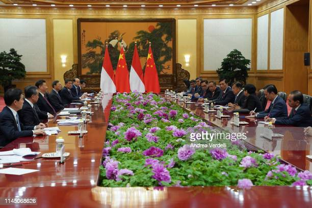 Chinese President Xi Jinping meets Indonesia Vice President Jusuf Kalla during the Second Belt and Road Forum at the Great Hall of the People on...